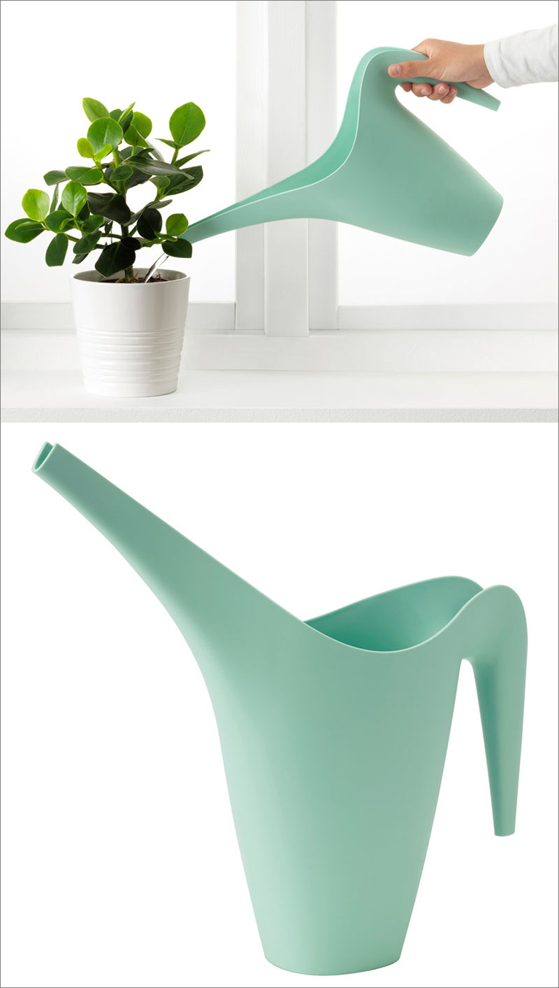This modern pastel watering can is large enough to be used on your potted plants outside, and is compact enough to be used on your indoor plants.