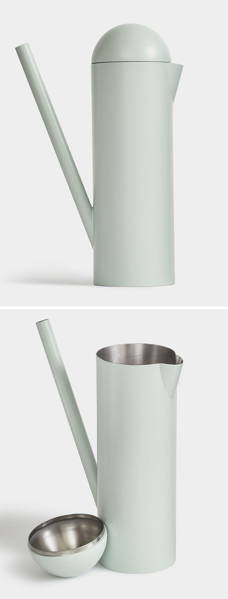 This modern mint colored watering can can also be used as a drink pitcher simply by removing the lid and using the long spout as a handle.