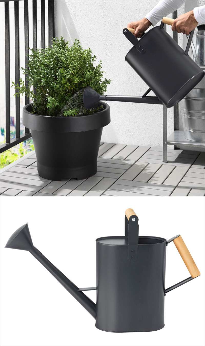The matte black finish on this watering can, and the wooden handles give it a modern look while maintaining the traditional form.