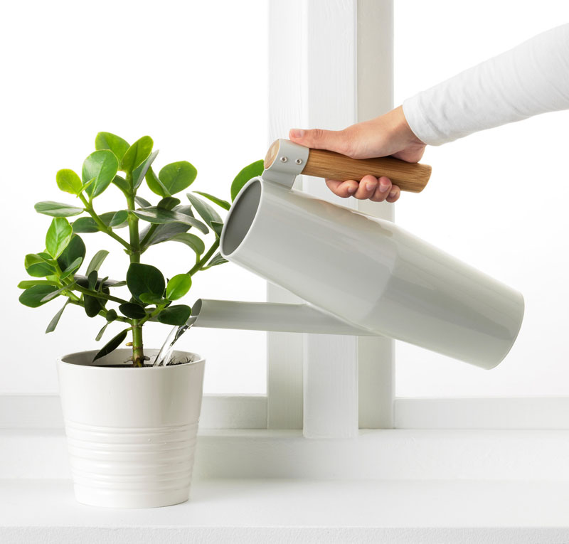 With the wood handle and the soft grey metal, this modern watering can will blend right into a interior full of plants.