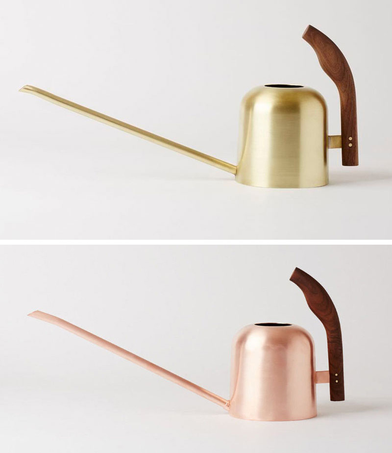 The long spouts on these modern metallic watering cans make them perfect for hard to reach plants, and they spruce up your decor when not in use.  #Gardening #WateringCans #ModernWateringCan #Plants