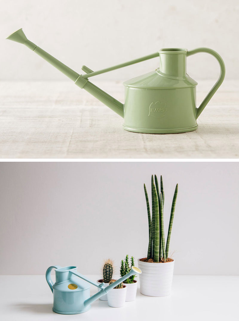 These small modern watering cans come in a range of fun colors making them perfect for watering your sprouting buds. #Gardening #WateringCans #ModernWateringCan #Plants
