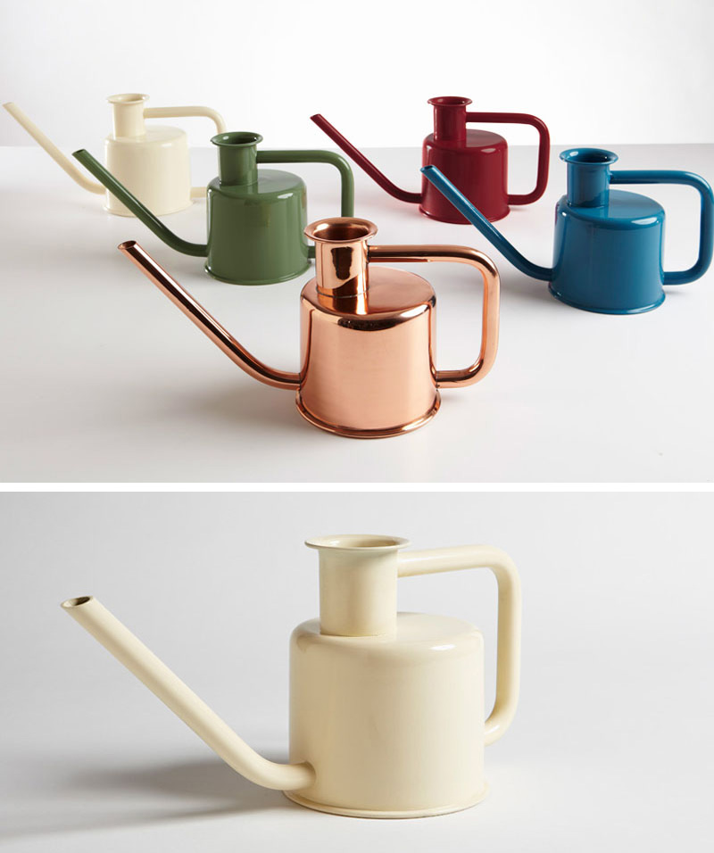 These small modern watering cans come in various colors and feature a simple design with long spouts, making them good for getting at hard to reach plants.