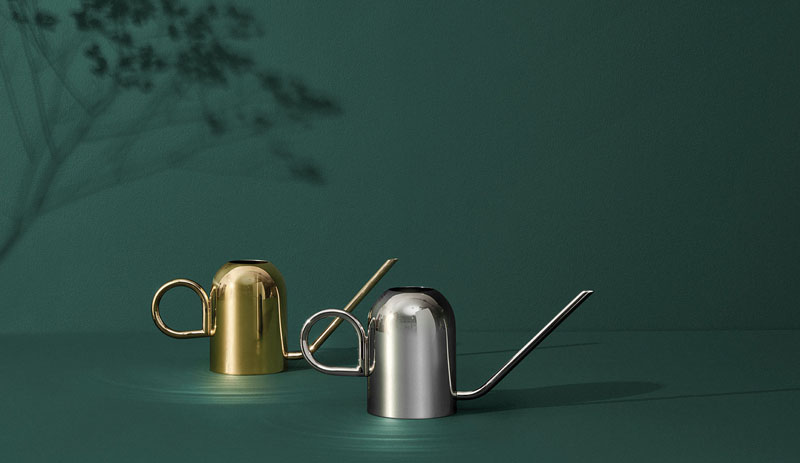 Available in both silver and gold finishes, these modern watering cans add a metallic touch to your interior and will help keep your plants thriving all year long. #Gardening #WateringCans #ModernWateringCan #Plants