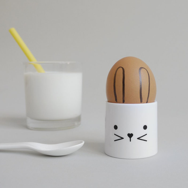 Encourage your kids to eat their eggs by putting them (the eggs, not your kids) in these modern, white, whimsical bunny egg cups.