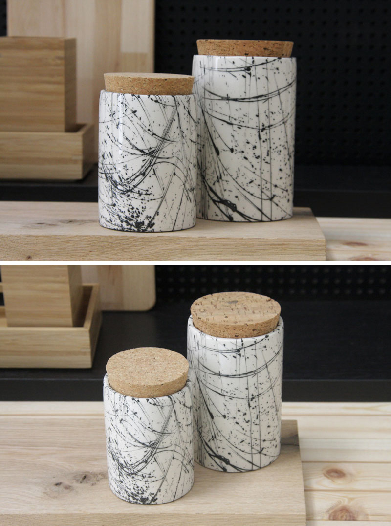These modern white and black line pattern ceramic jars have been painted separately, then glazed with a glossy finish, making them stand out on the counter.  #PantryIdeas #StorageIdeas #KitchenStorage #KitchenJars #ModernJar #ModernCanister #PantryJars