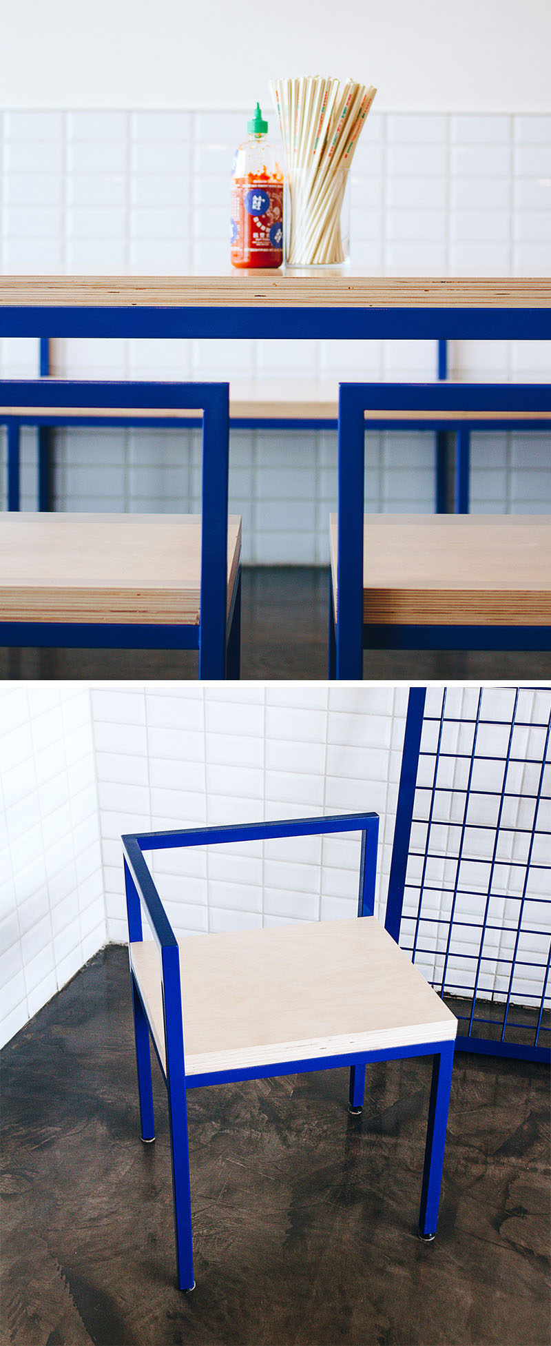 Made from plywood and blue metal frames, this modern restaurant furniture is kept simple and sturdy, with the food and conversation meant to be the focal point.