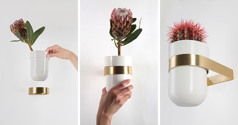 This modern, white ceramic wall-mounted flower pot is delicate in design, and easy to use.