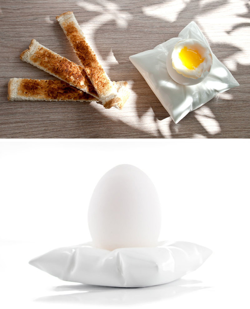Lay your eggs to rest on this modern white porcelain egg holder that mimics a pillow.