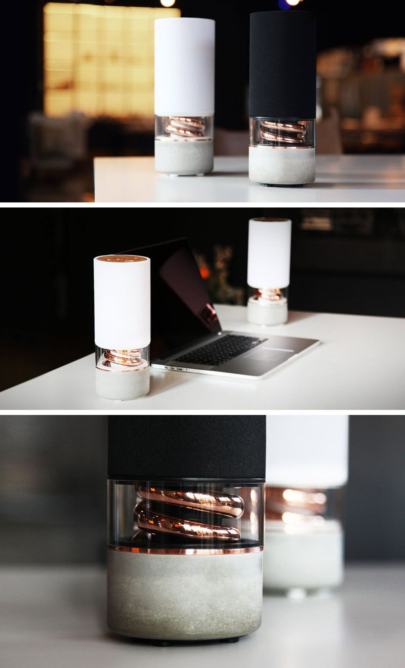 The concrete base and copper spiral encased in glass do more than just give this wireless speaker a beautiful look. The concrete base provides a solid base to counter speaker vibrations and the copper pipe boosts bass frequencies, creating high resolution audio.