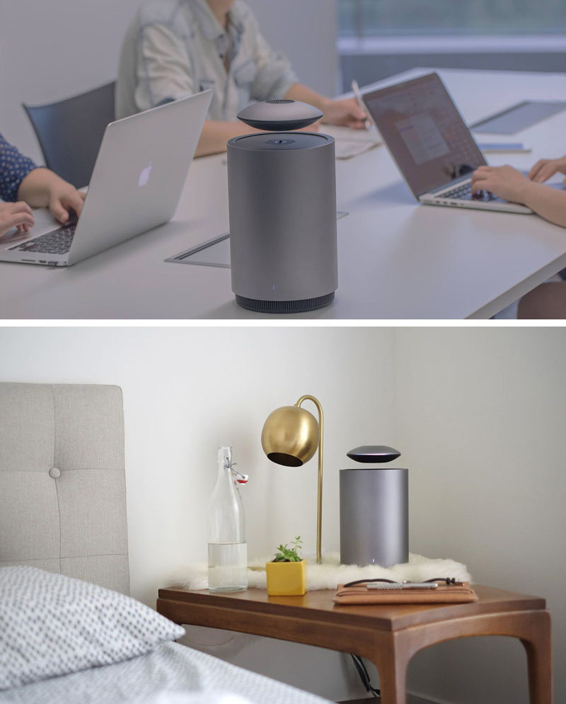 This levitating wireless speaker system features a floating speaker and a stationary subwoofer that also doubles as the charging station. When the batteries in the floating speaker start to get low, the flying saucer shaped speaker slowly touches back down on the subwoofer until it's fully charged then silently lifts off again.