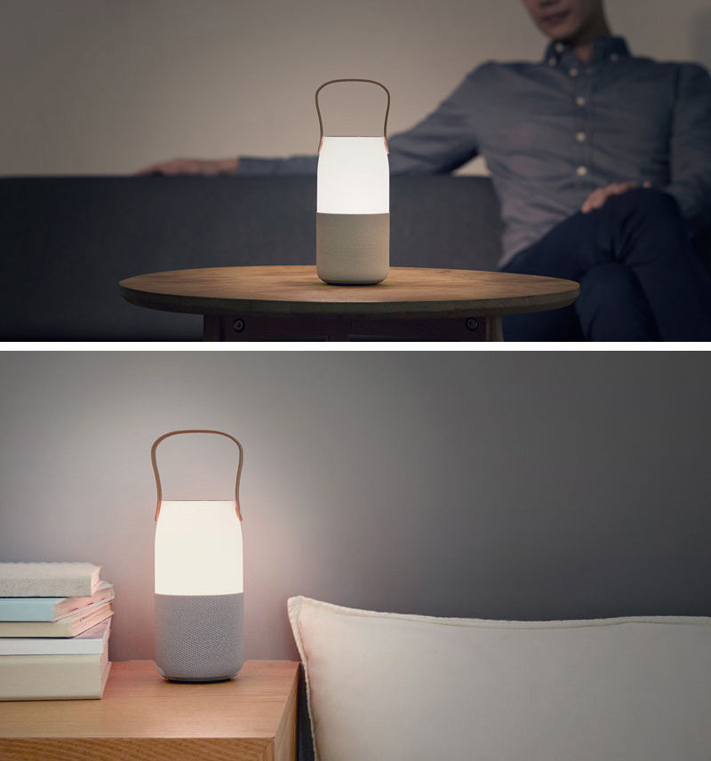 The bottom half of this wireless speaker provides 360° of sound while the top half features an LED light that can change colors and brightness using simple motions, and a comfortable handle that makes the speaker easy to transport.