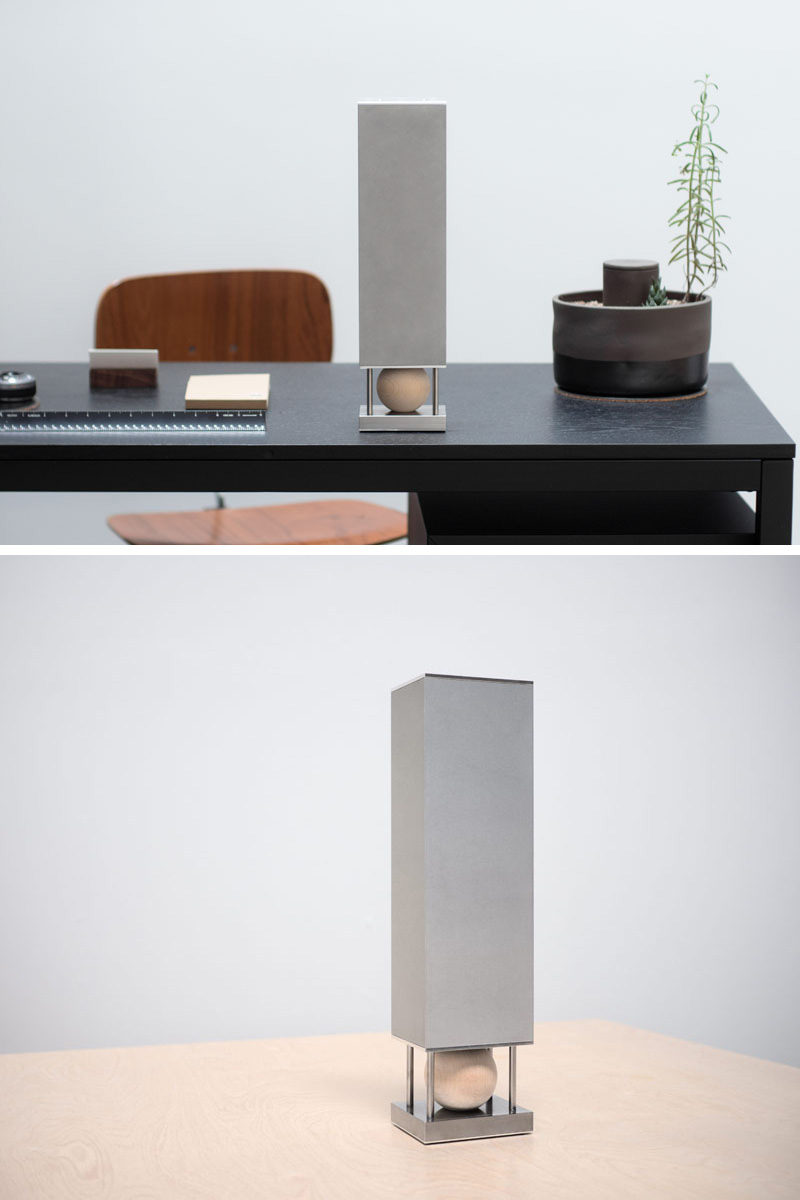 Steel and aluminum make up the body of this modern looking wireless speaker, while a maple hardwood ball sits at the base to diffuse sound and house the bluetooth receptor.