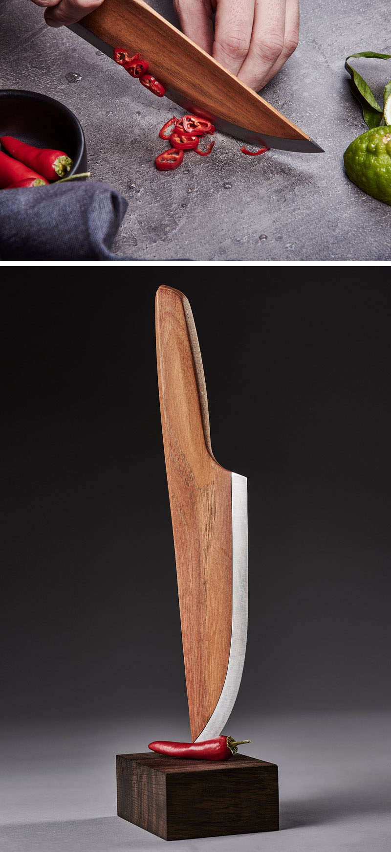 German design firm LIGNUM have created //SKID - a sustainable chef knife made from 97% wood and 3% high alloyed carbon steel.