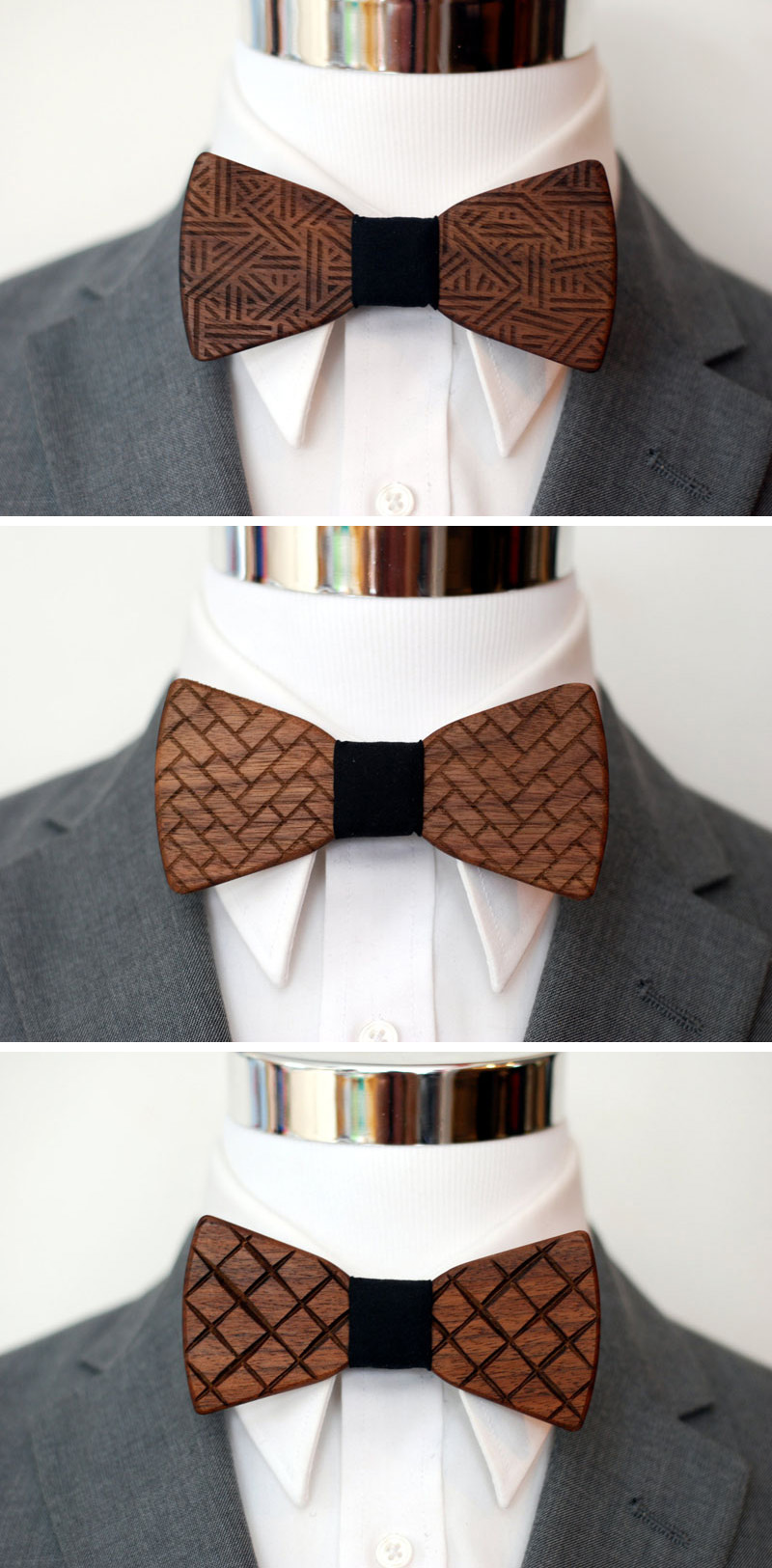 The various patterns burnt into the surface of these wood bow ties give them a unique look while remaining simple and contemporary for men's fashion.