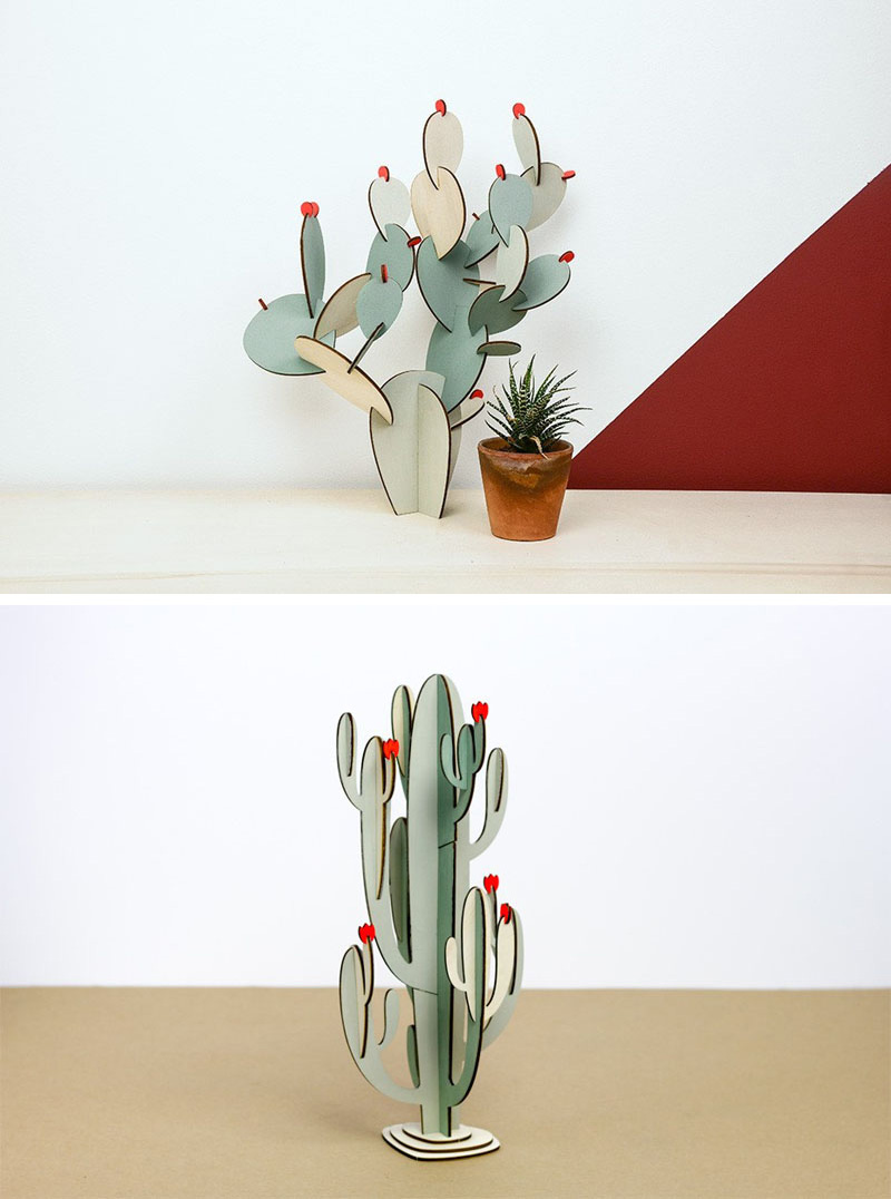 These modern wood cacti can be left with their natural wood finish or can be painted to create a more authentic looking house plant.
