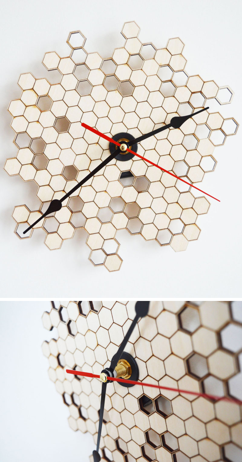 Natural untreated birch plywood has been laser cut and engraved to create this unique, modern honeycomb wood wall clock. #ModernWoodClock #WallClock #ModernDecor #ModernClock