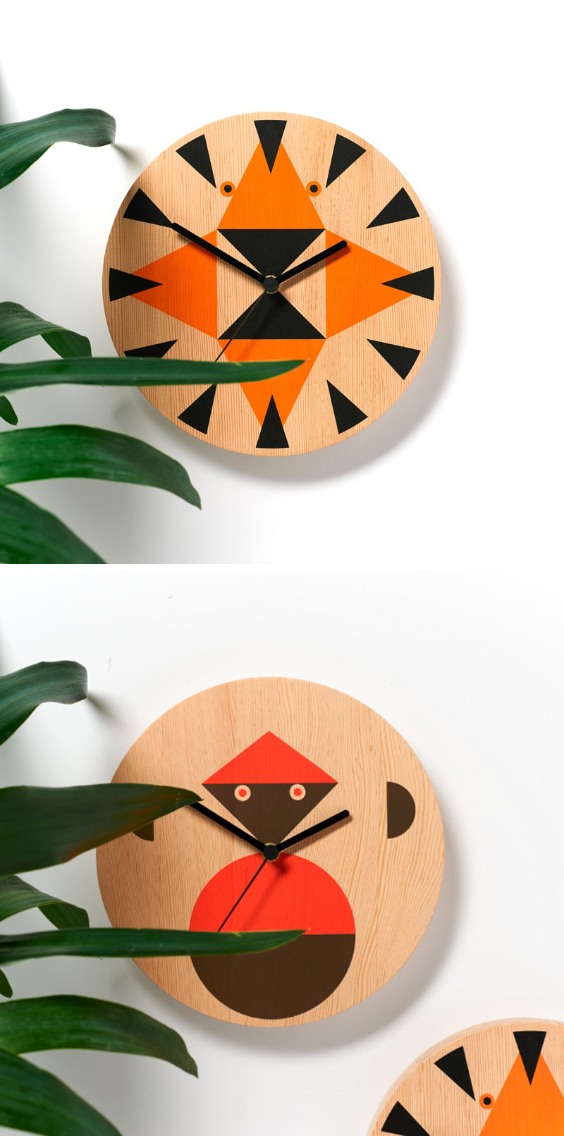 Animal faces made from simple geometric shapes create a whimsical look on these modern wood wall clocks.