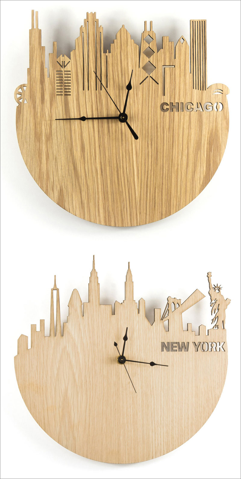 These modern wood wall clocks feature laser cut skylines on them of famous cities from around the world.