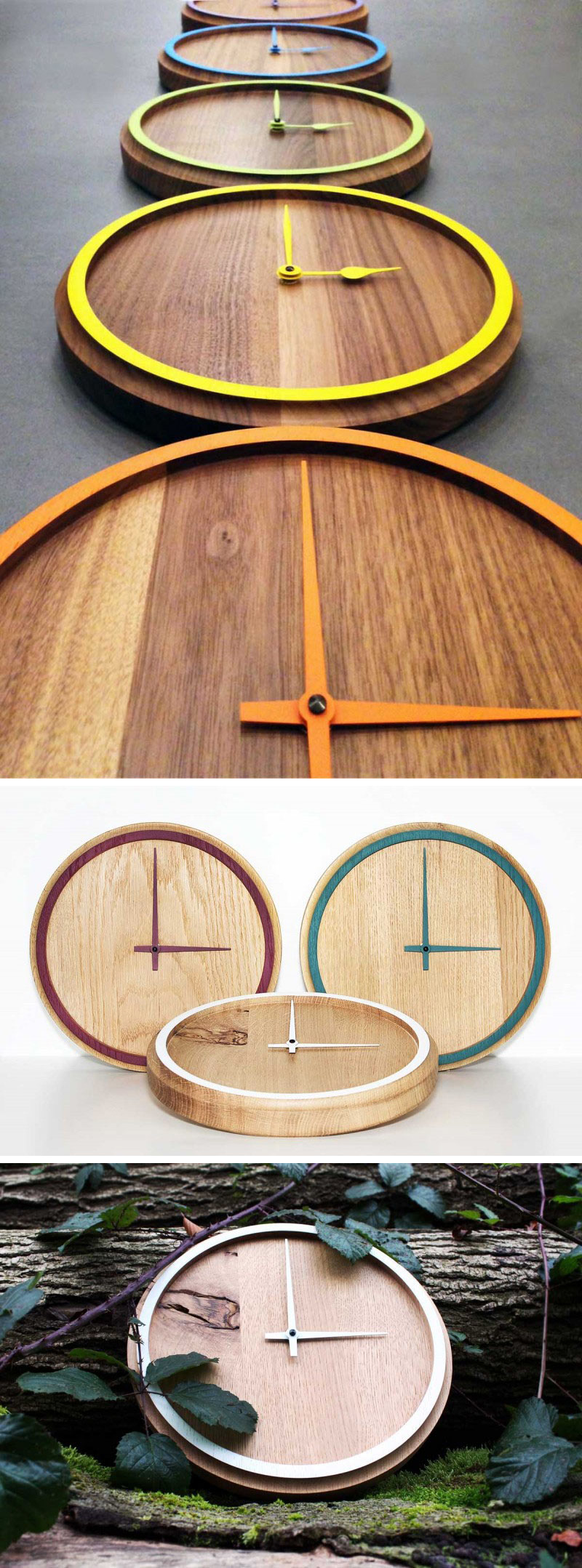 The hands of these solid wood clocks match the colorful rims to make sure the clocks are simple, fun, and modern.