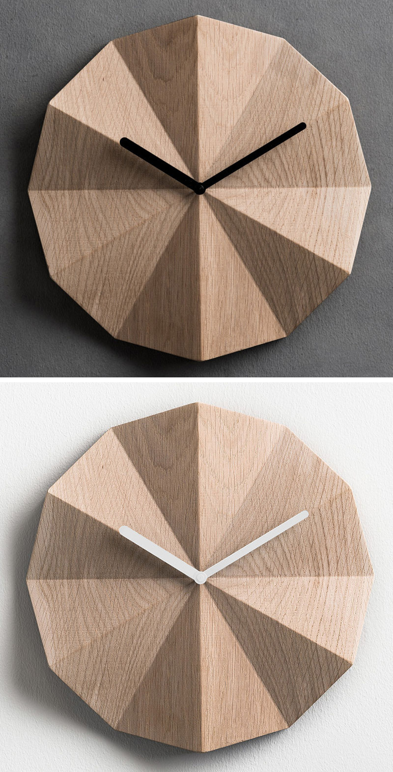 The folds on the surface of these modern wood wall clocks create shadows that change throughout the day as light moves throughout the room.