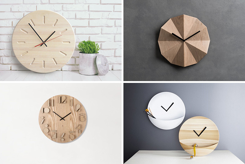 These modern wood clocks are unique in design and perfect for sprucing up your home decor. #ModernWoodClock #WallClock #ModernDecor #ModernClock