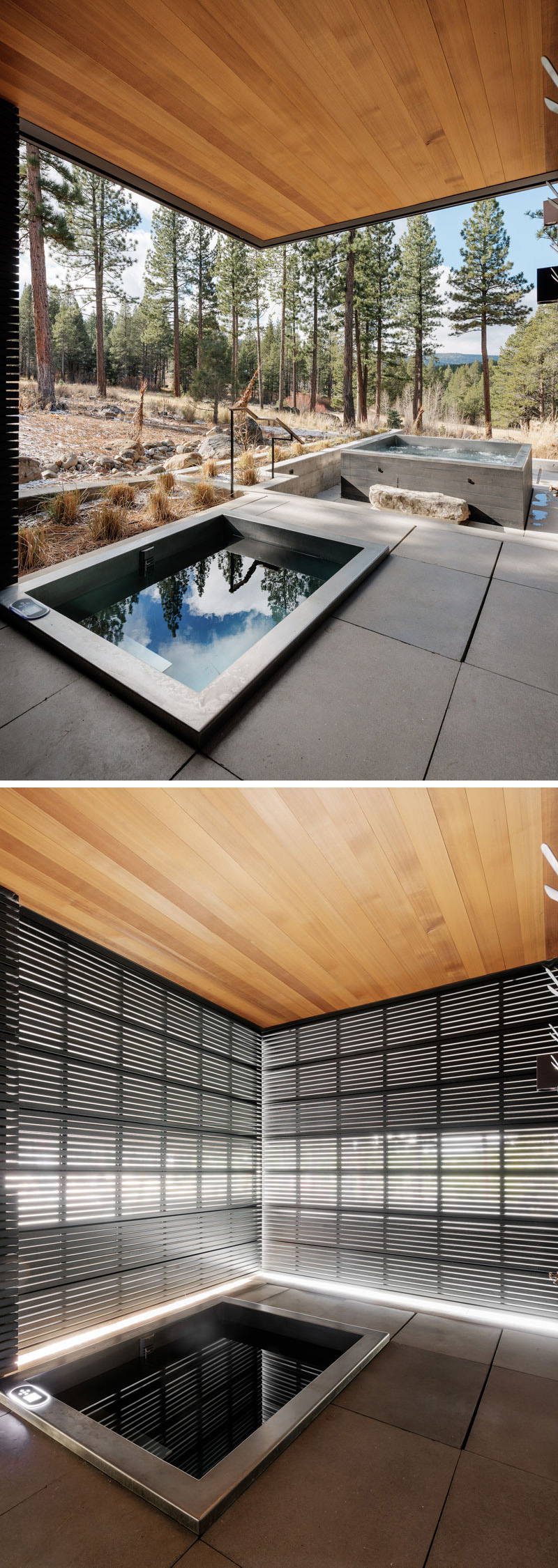 This modern house has an outdoor soaking tub that has a black metal privacy when needed.