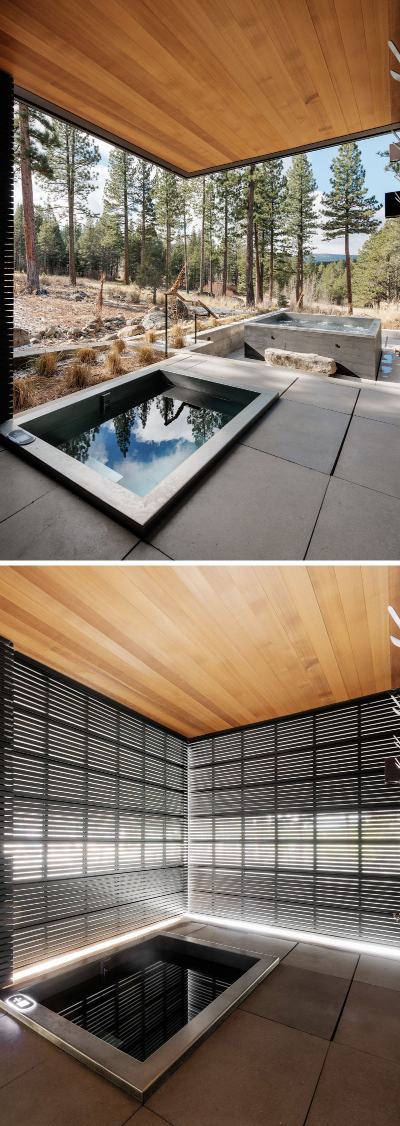This modern house has an outdoor soaking tub with a black metal privacy screen that can be used when needed.