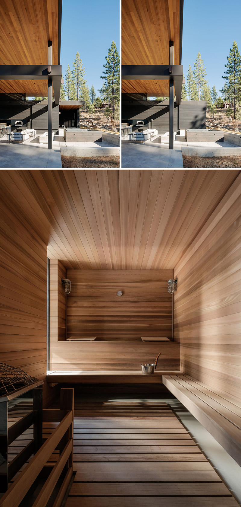 A wood sliding door behind the outdoor soaking tub reveals a bathroom and a sauna. Light wood lines the sauna, which has plenty of space with bench style seating.