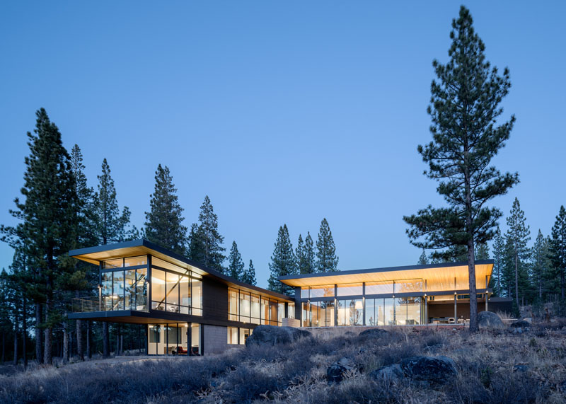 New Home Surrounded By Nature Near Lake Tahoe In California on Modern House With Curved Roof Design