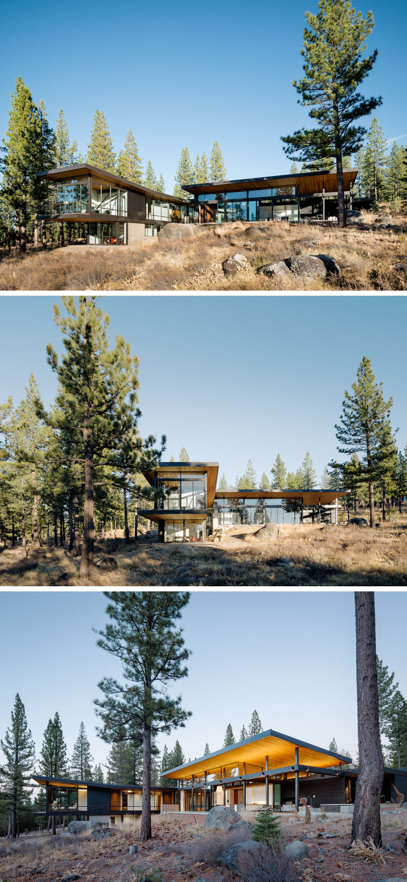 This modern house features large windows and a wood upward sloped roof with hidden lighting, allowing for breathtaking views of the surrounding landscape.