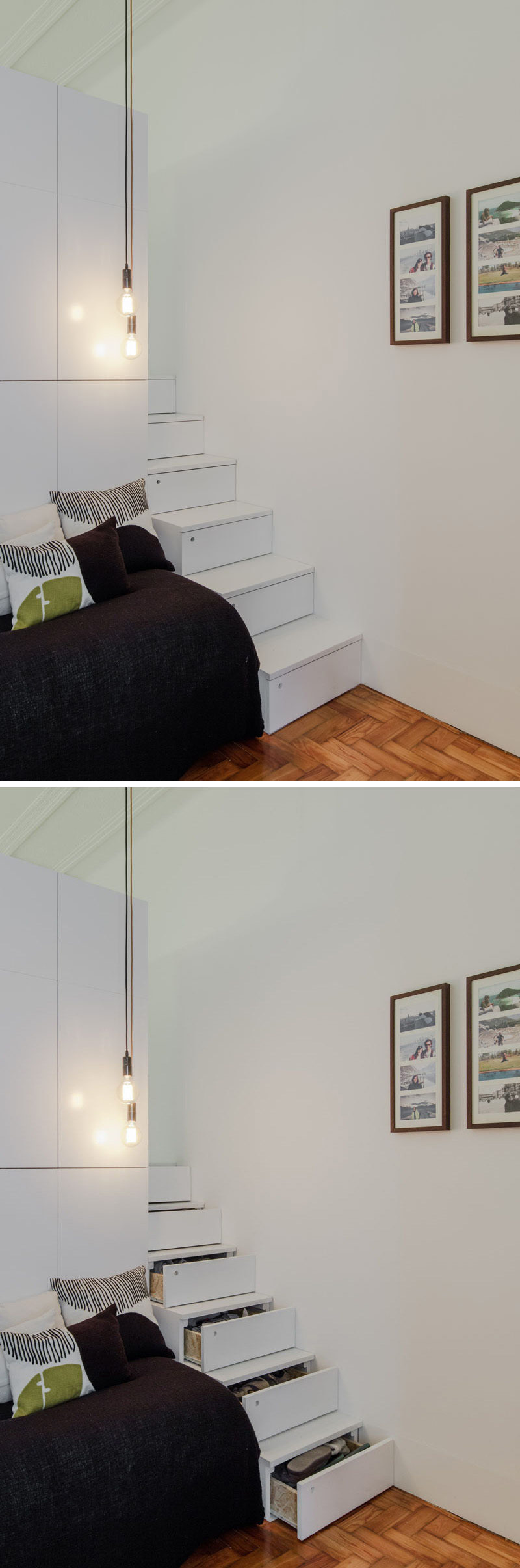 In this small apartment, a set of white stairs sits next to a pull out couch/bed combo, with each step able to be opened as a drawer, providing extra hidden storage.