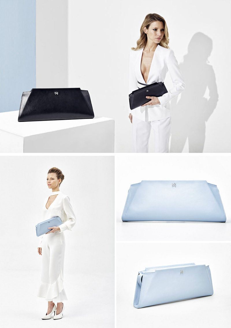 Geometric in its appearance, the Silhouette Clutch by AGNESKOVACS, has a single opening with a double metal zipper.