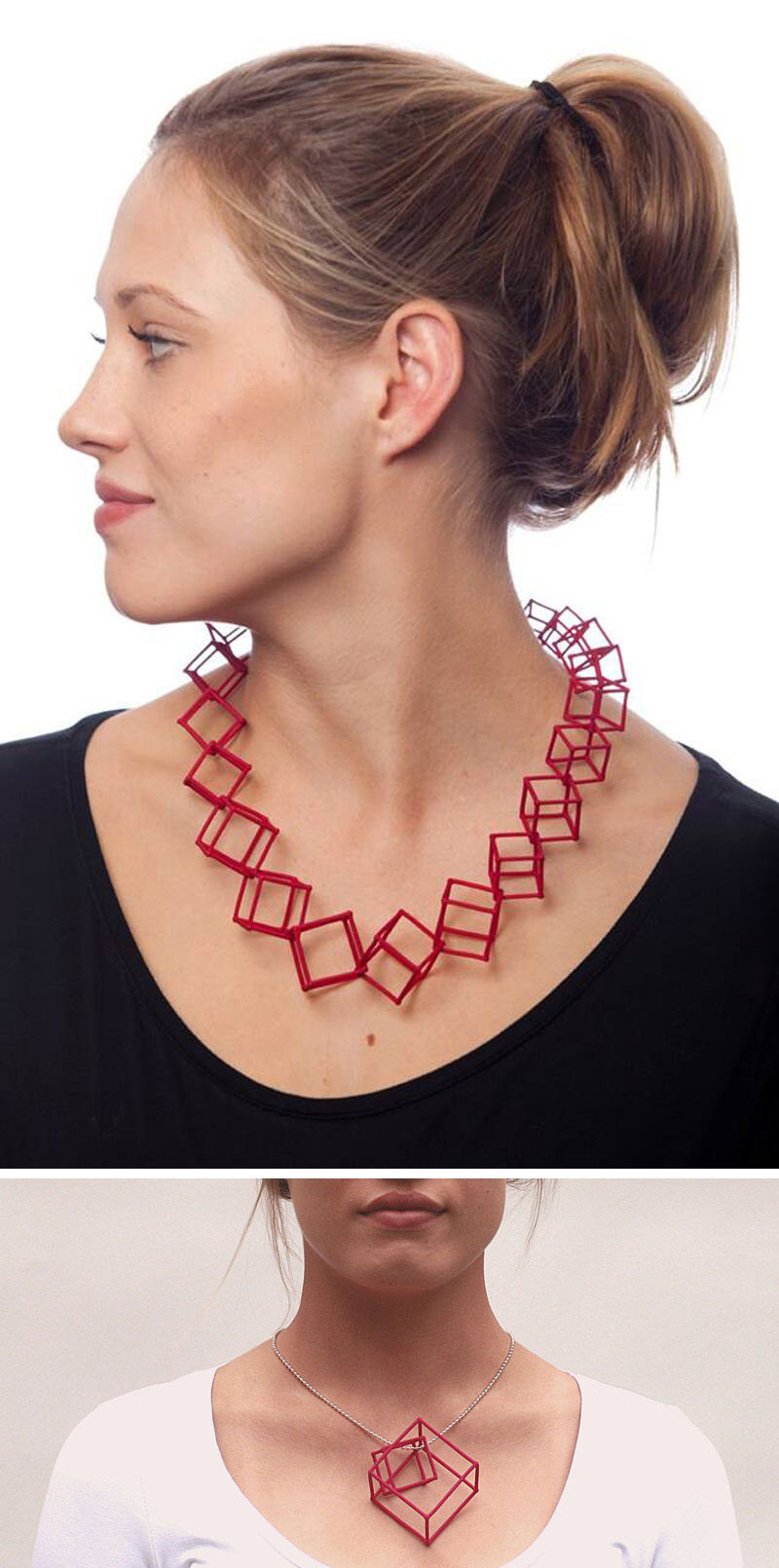 These bright red colorful cube necklaces are made from 3D printed nylon dyed in fun colors to create unique pieces of geometric jewelry. #ModernJewelry #Fashion #Style