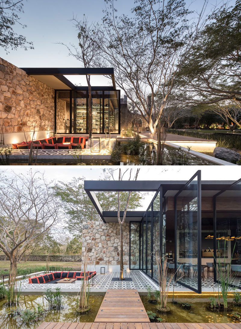This modern restaurant, located in renovated farm buildings in Mexico, has an outdoor sunken lounge with colorful throw pillows and a firepit.