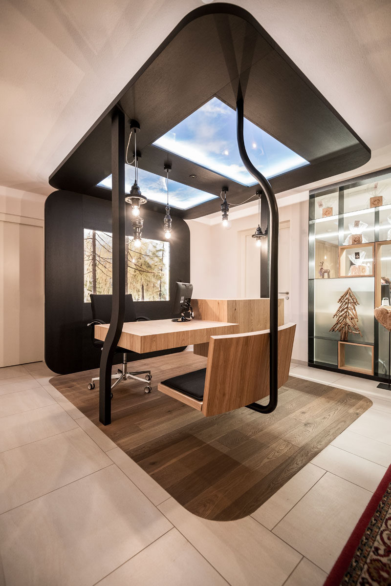 Once inside this modern Italian hotel, guests arrive to a hanging chair and desk with a two panel skylight. This gondola-style check in prepares a guest for their unique hotel experience.