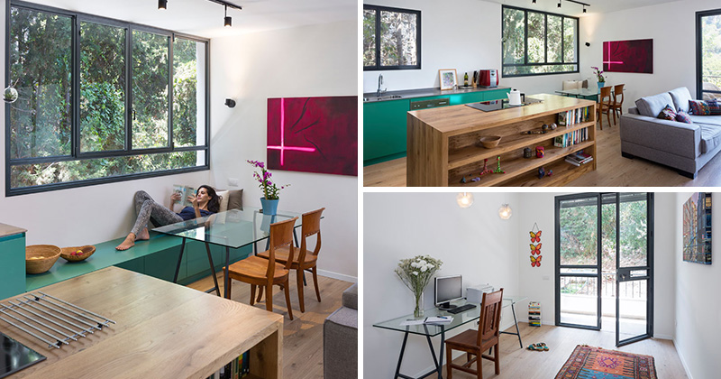 A Bold Green Kitchen Adds A Pop Of Color To This Apartment