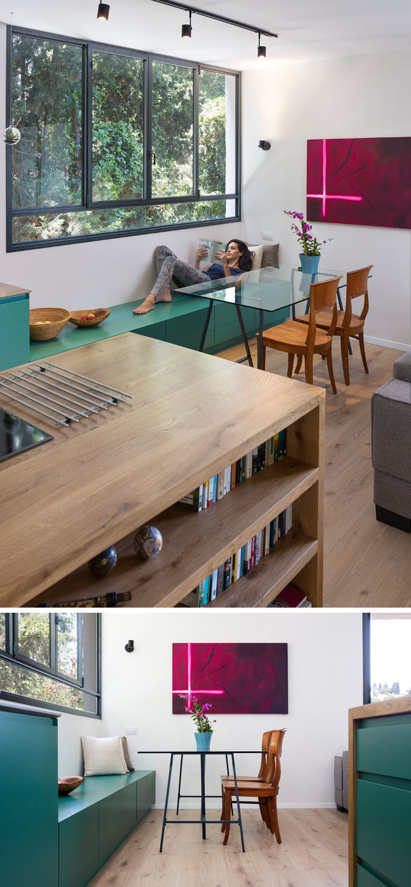 In this modern apartment, the green kitchen cabinetry extends into the dining area in the form of a bench to provide extra storage and seating.