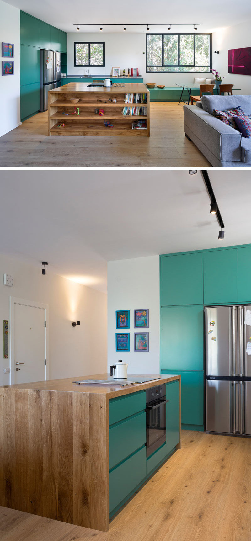 This modern kitchen with green cabinets also features a wood island with open shelving for extra storage.