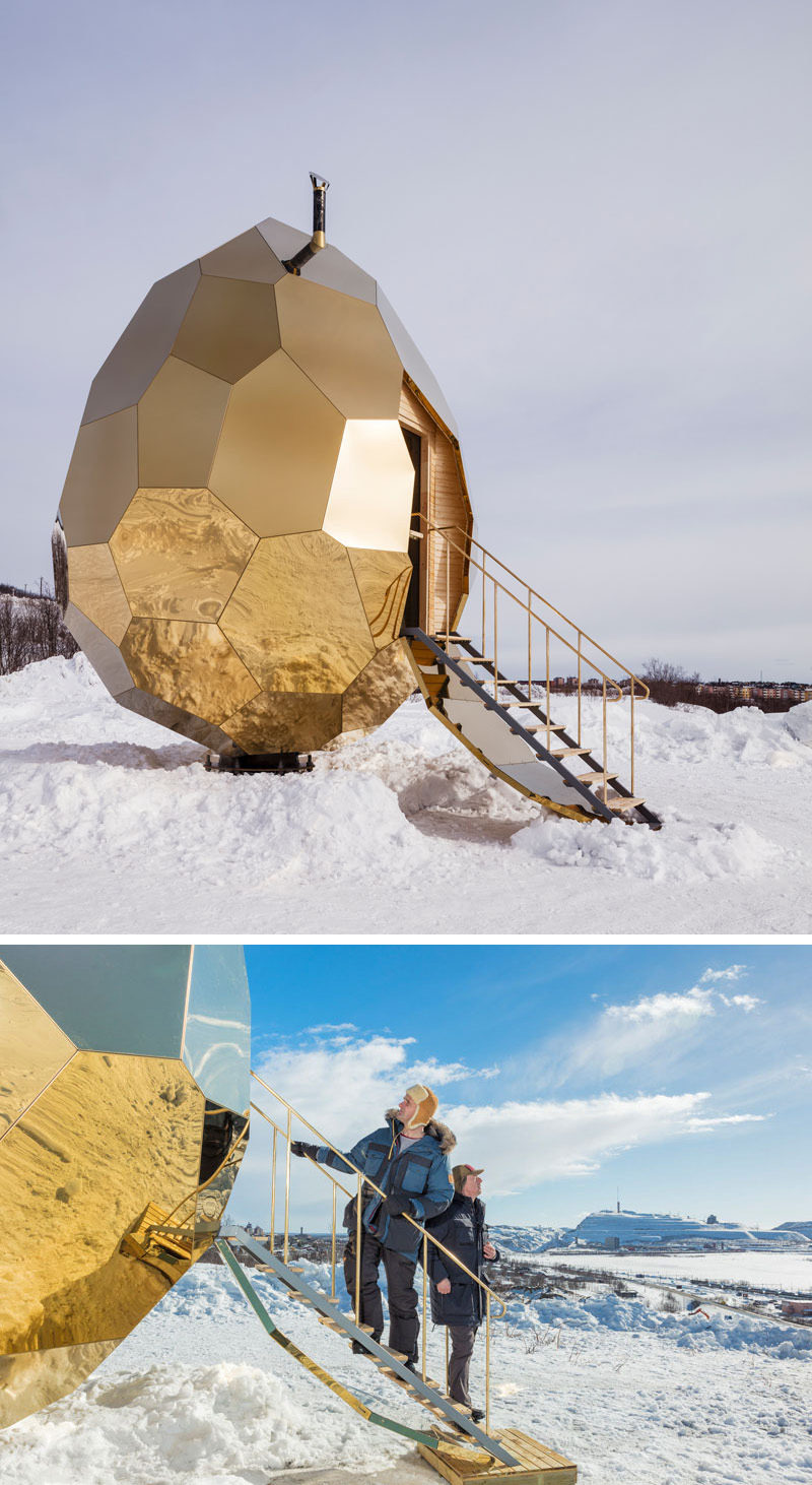 Designers Bigert & Bergstrom have unveiled the SOLAR EGG, a public sauna art installation that's made from 69 pieces of gold plated steel that reflects the city and surrounding landscape.