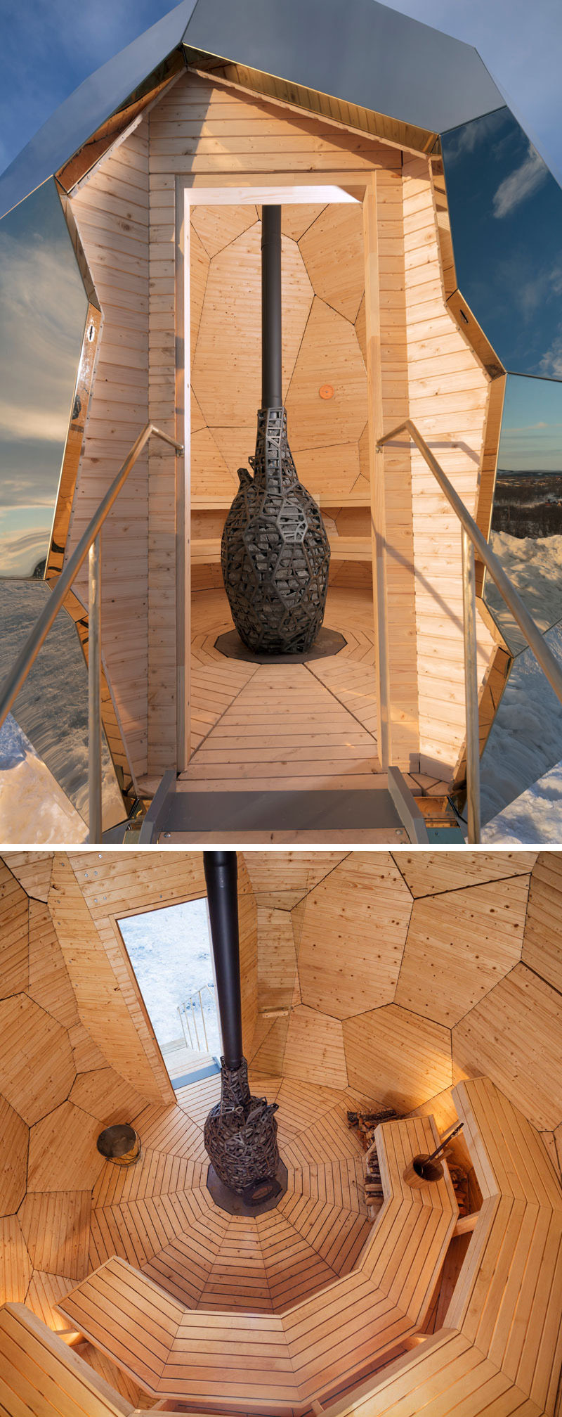 Inside this egg shaped sauna, multi-level wood seating with hidden lighting and patterned wood walls surround the fireplace. The fascinating egg can accommodate up to eight people at once.