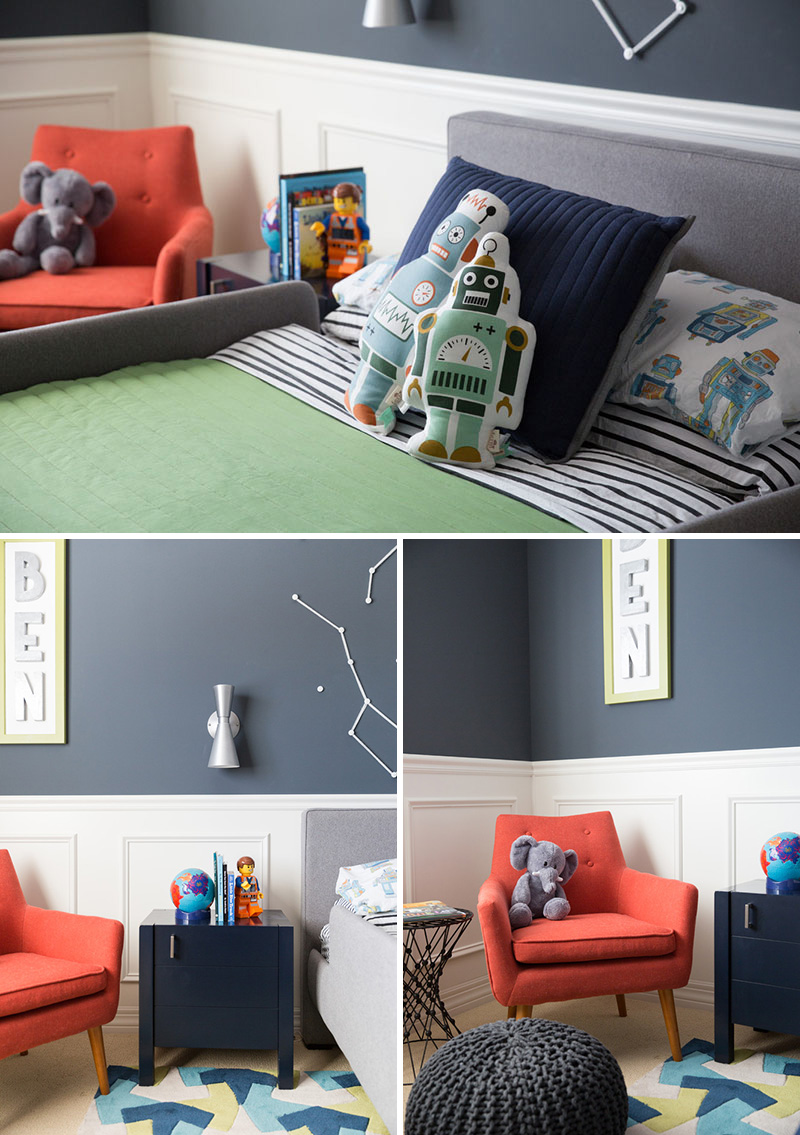 This Fun Boy S Bedroom Has A Decorative Space Theme