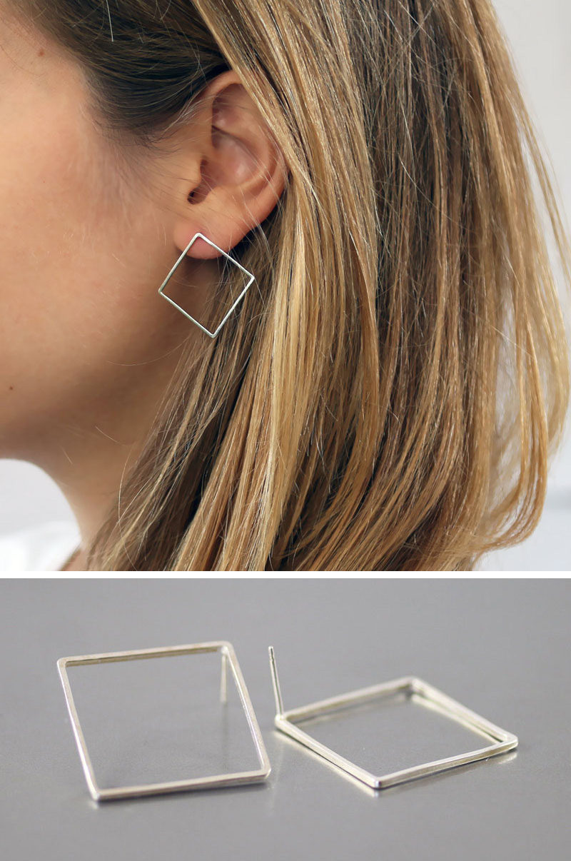 These square earrings take the basic geometric shape of the square and turn it into a stylish and classic piece of jewelry. #ModernJewelry #Fashion #Style