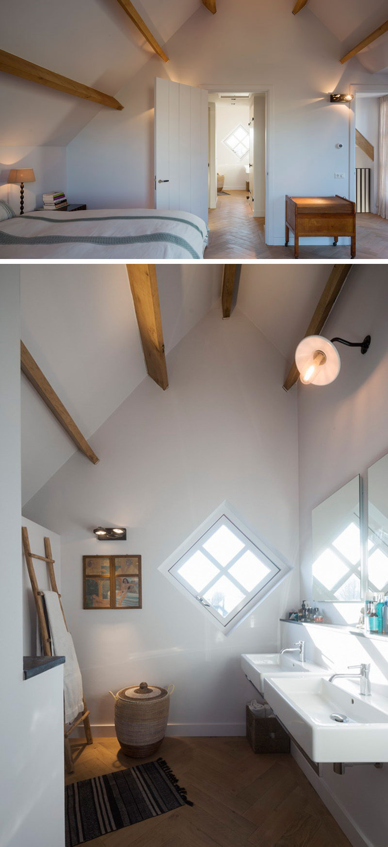 This contemporary master bedroom and ensuite washroom are uniquely shaped by the roof line of the house. Minimally decorated white walls and wood beams, these rooms have a contemporary farmhouse feel.