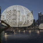 Three Large Crocheted Urchins Decorated Singapore During The iLight Marina Bay Festival