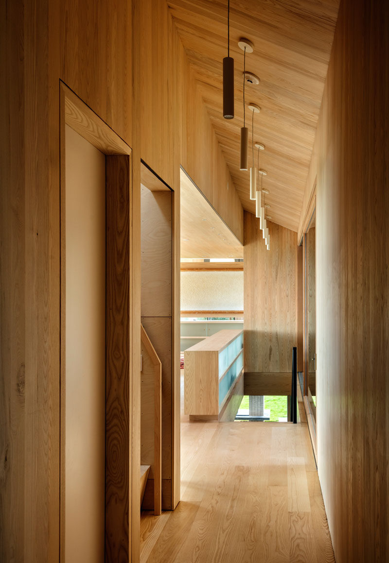 A muted palate of bleached ash planking and bleached plywood has been used throughout the interior of this modern wood home.