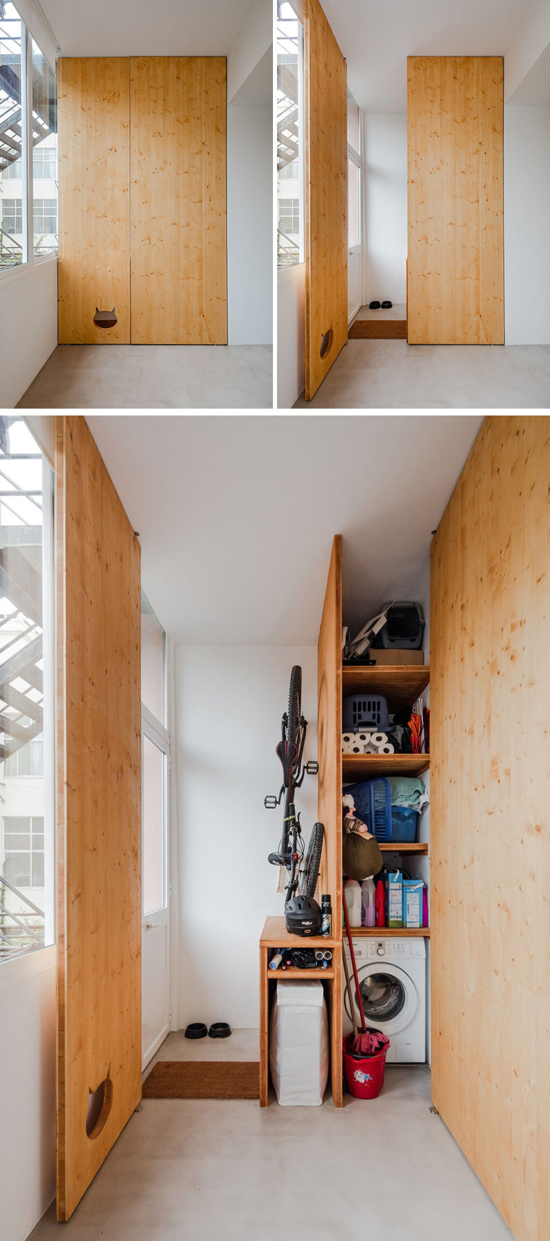 This small and modern apartment has a closet to hide away the washing machine and cleaning products, and when the door is closed, it reveals a cut-out in the door that doubles as a cute cat door.
