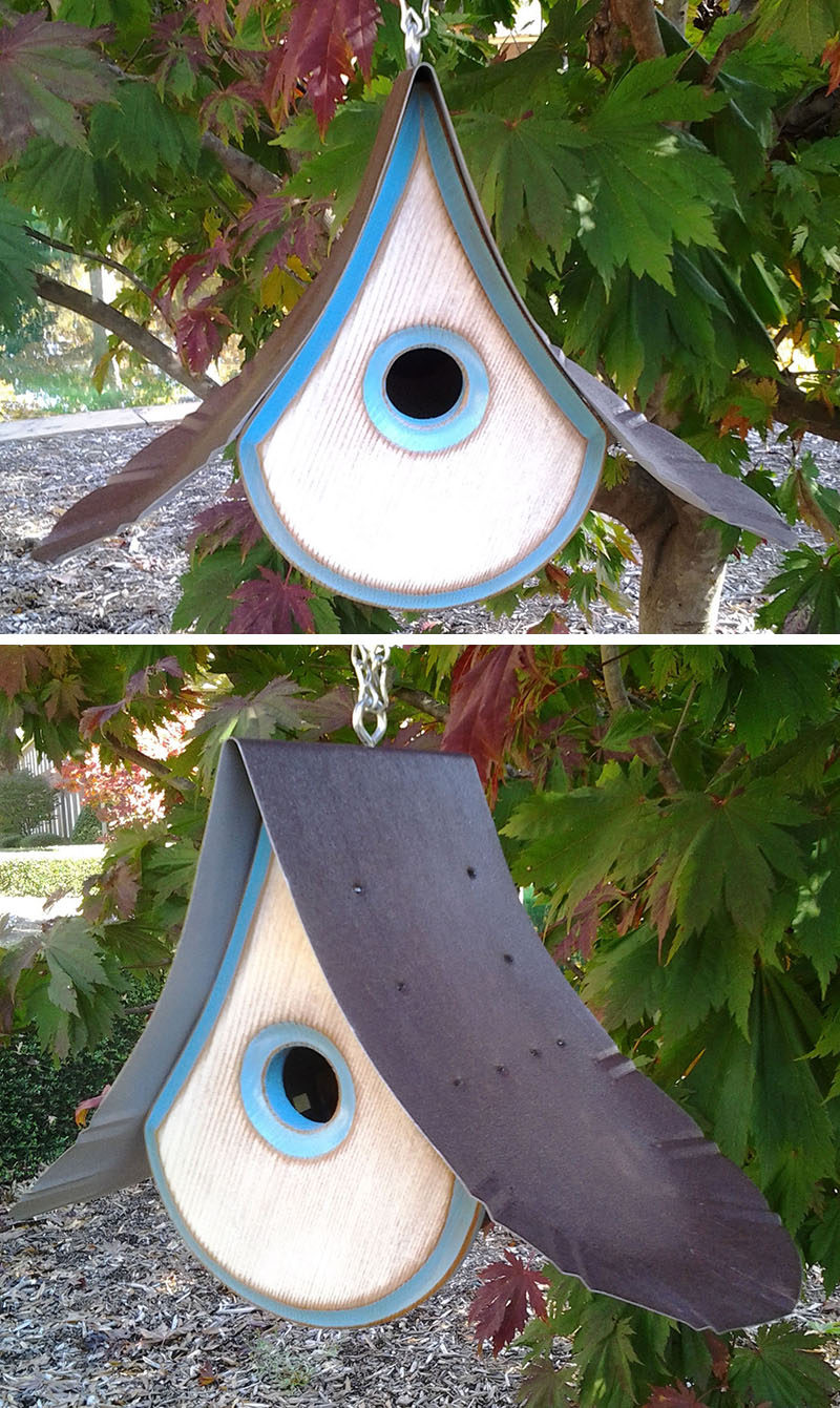This artistic birdhouse combines Western Red Cedar and re-purposed tin roofs to create a modern look.