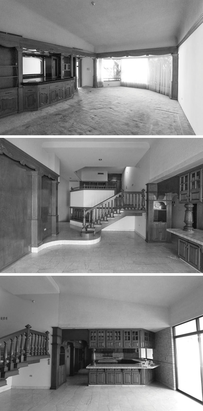 This is the before photos of a house in Mexico that was renovated into a bright and modern family house.
