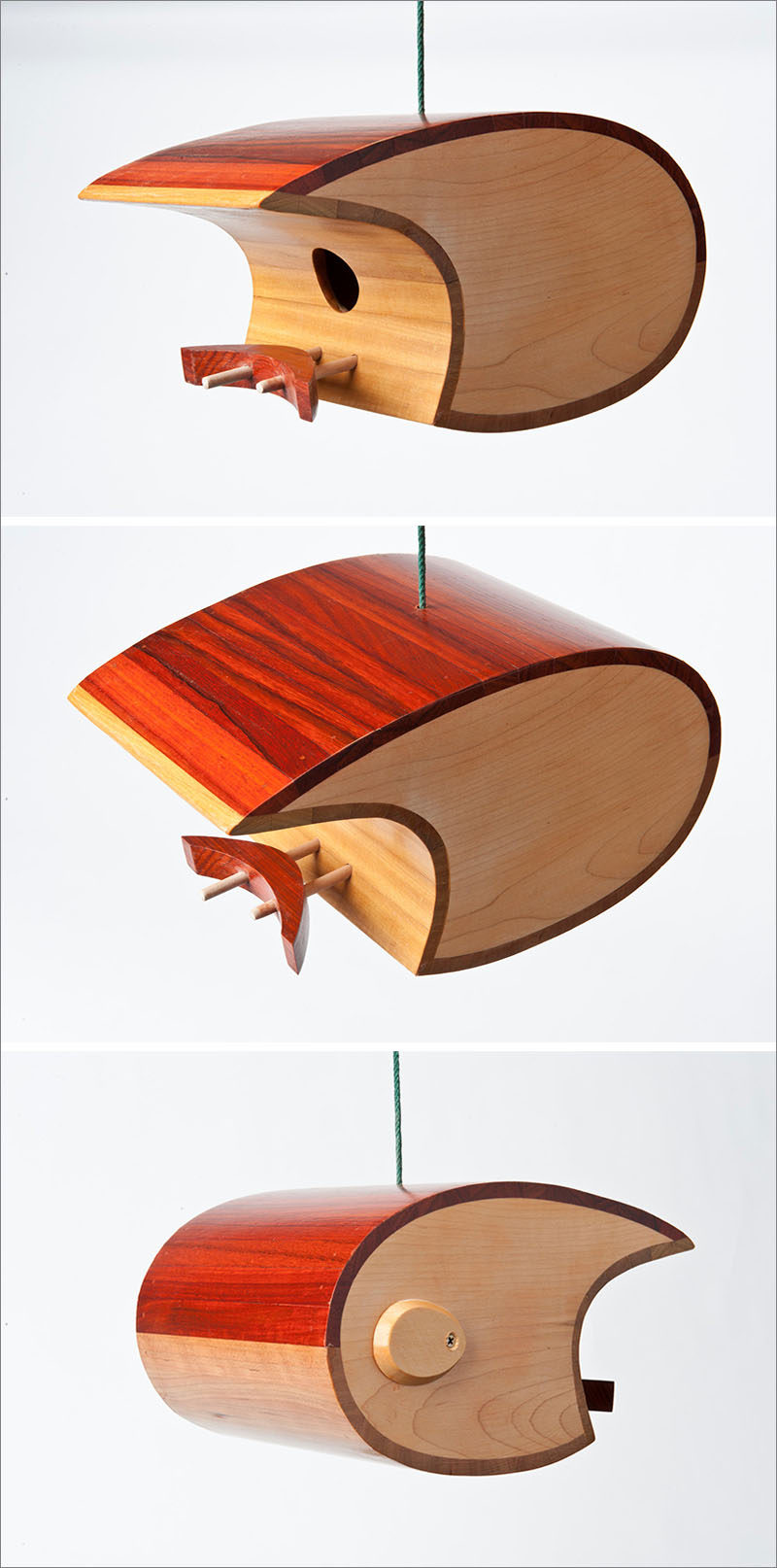 Discarded wood from tropical hardwood floor manufacturers is used to create this curved, modern birdhouse.